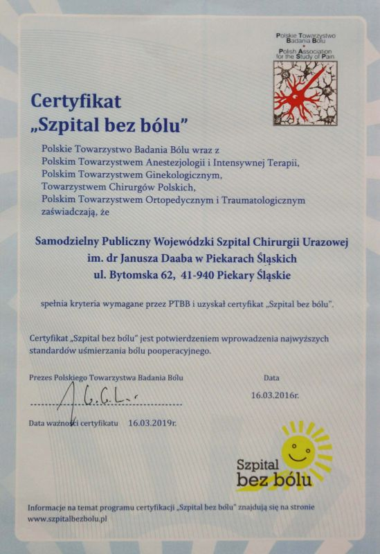 Certyfikat Szpital bez bólu
