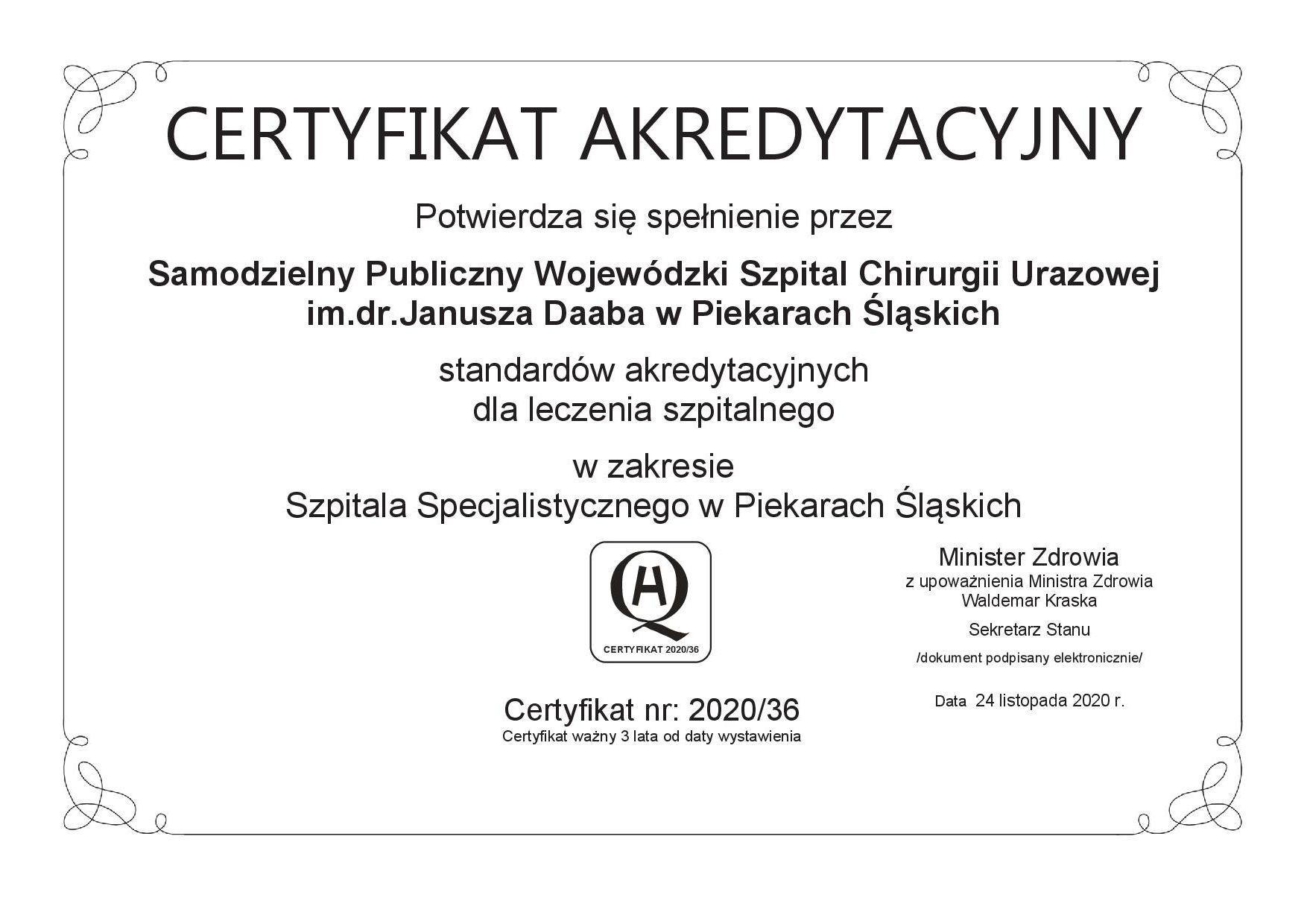 Zdjędie przedstawia certyfikat akredytacyjny.