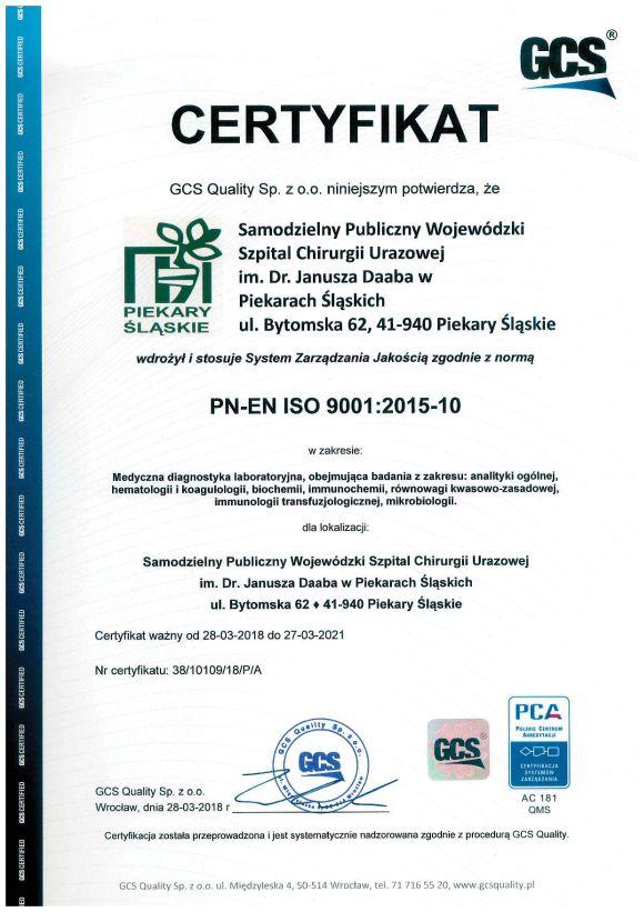 Certyfikat ISO Laboratorium