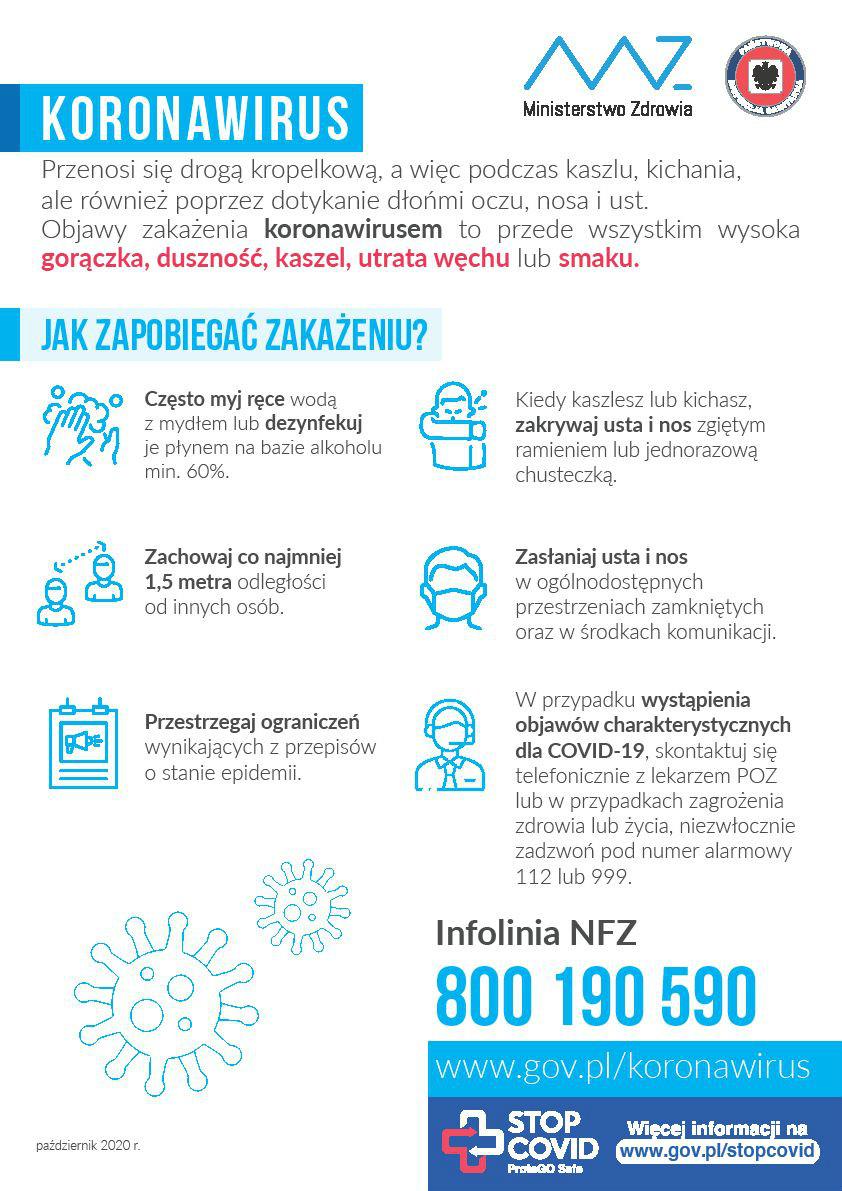 Plakat: zasady postępowania, jak zapobiegać zakażeniom w dobie epidemii COVID-19