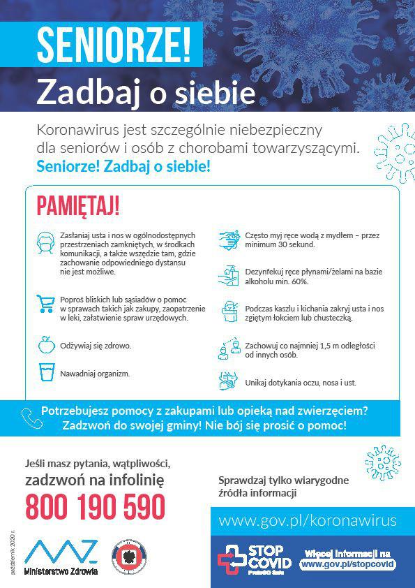 Plakat: seniorze, zadbaj o siebie w czasach epidemii COVID-19