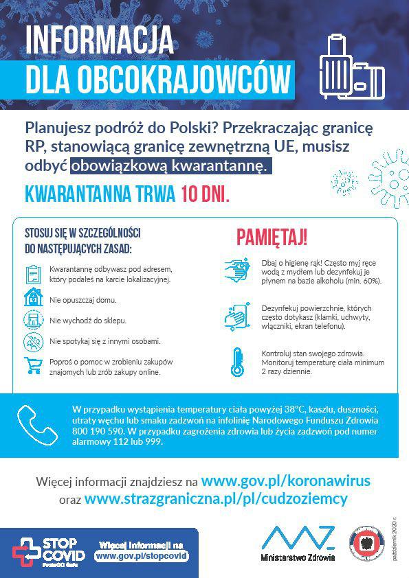 Plakat: informacje dla obcokrajowców w związku z epidemią COVID-19