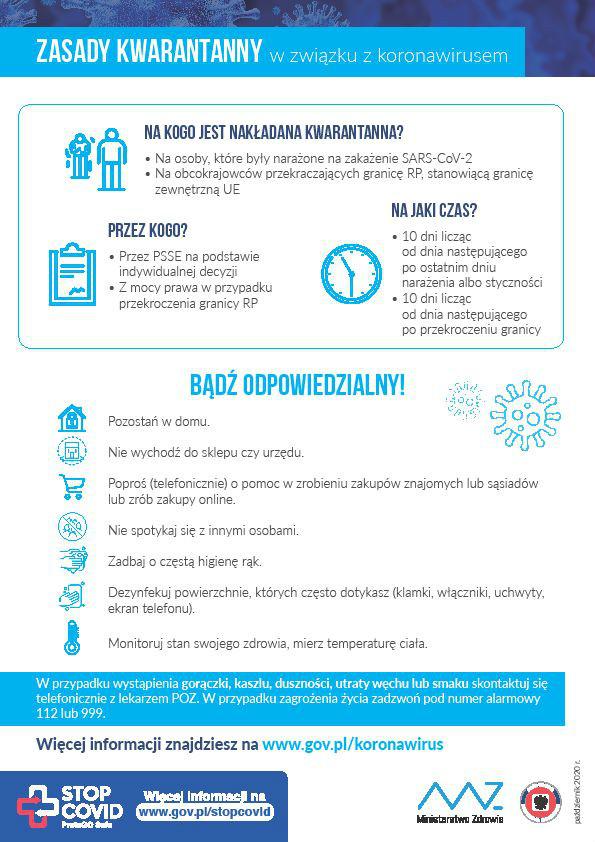 Plakat: zasady kwarantanny w związku z koronawirusem