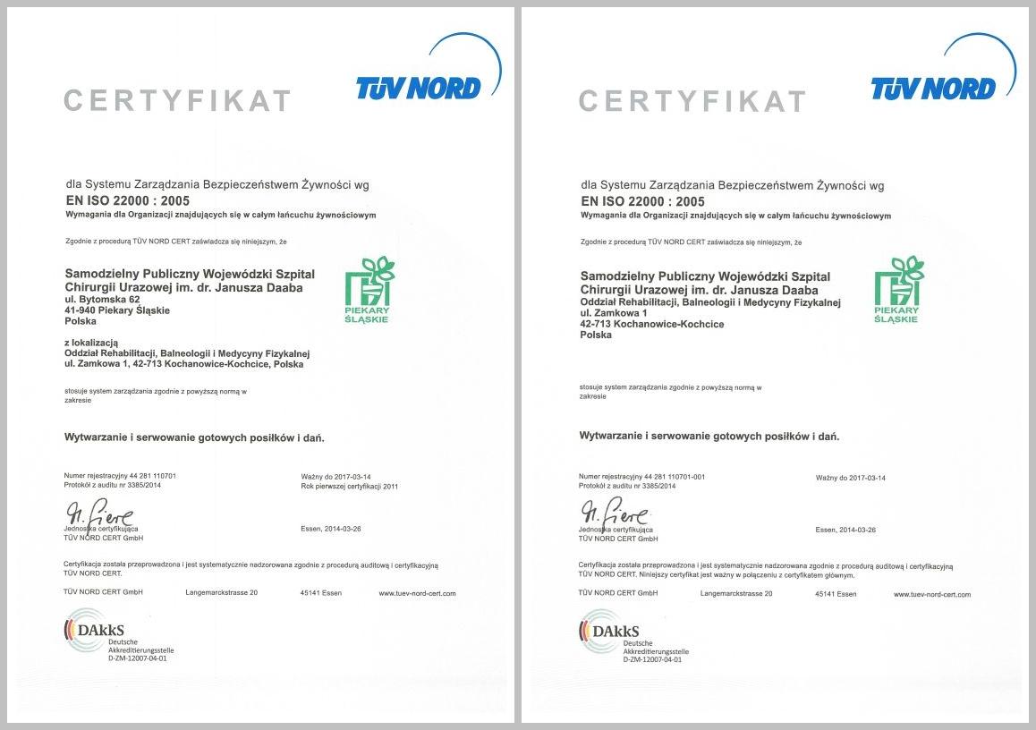 Certyfikat ISO Dział Żywienia