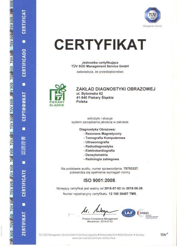 Certyfikat ISO diagnostyka obrazowa