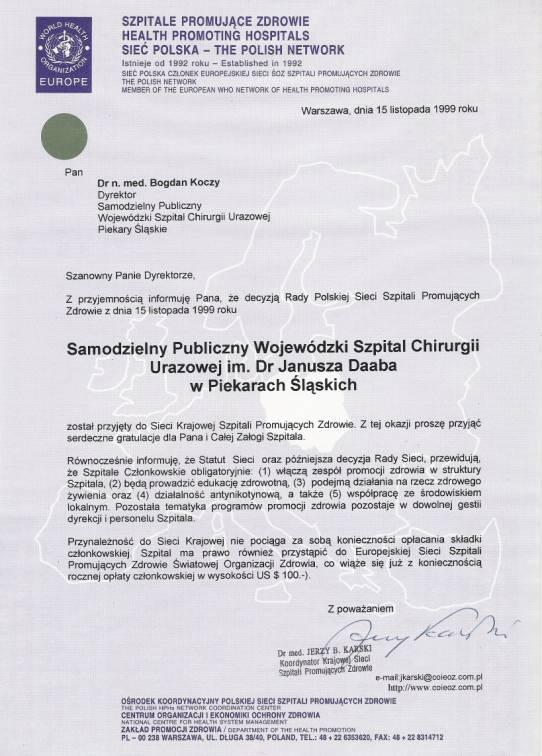 Certyfikat Szpital promujący zdrowie